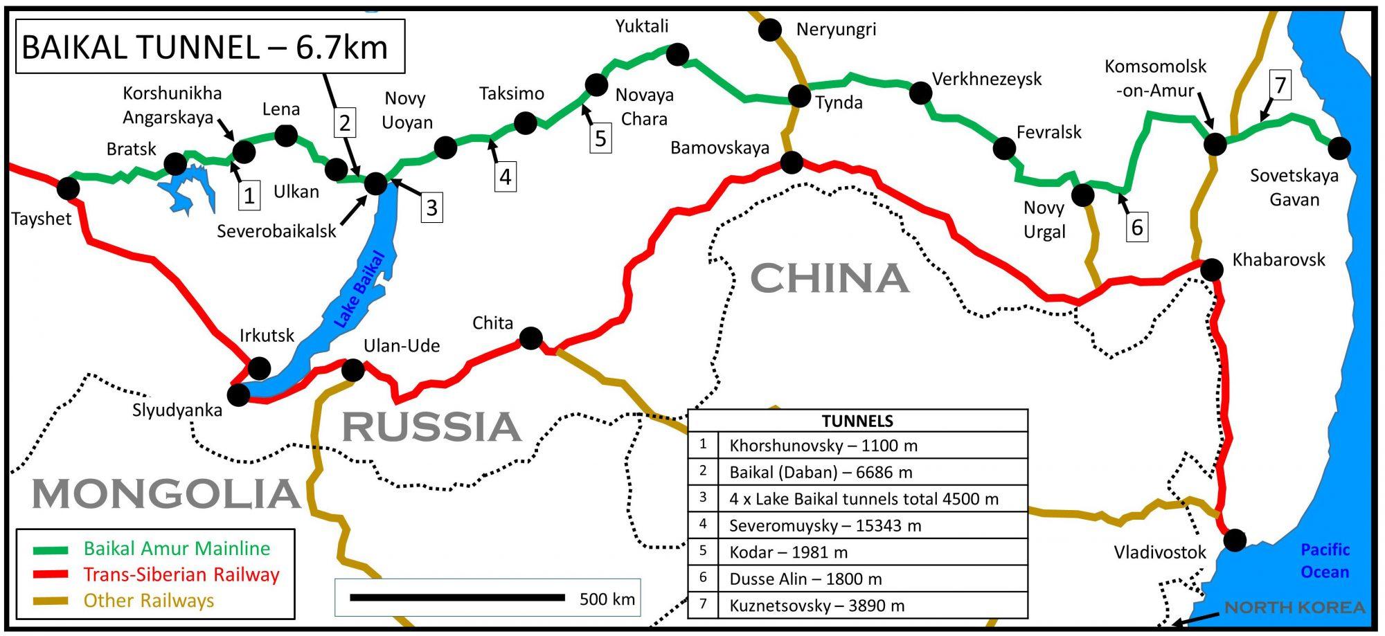 A map of the Baikal Amur mainline.