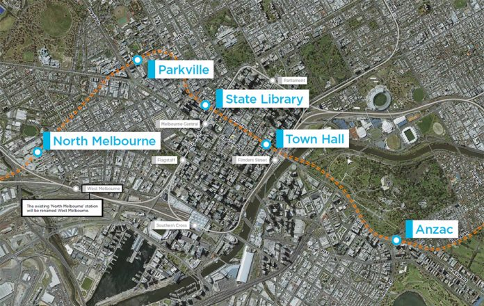 A map of the Metro Tunnel in Melbourne, Australia. Photo: Rail Projects Victoria.
