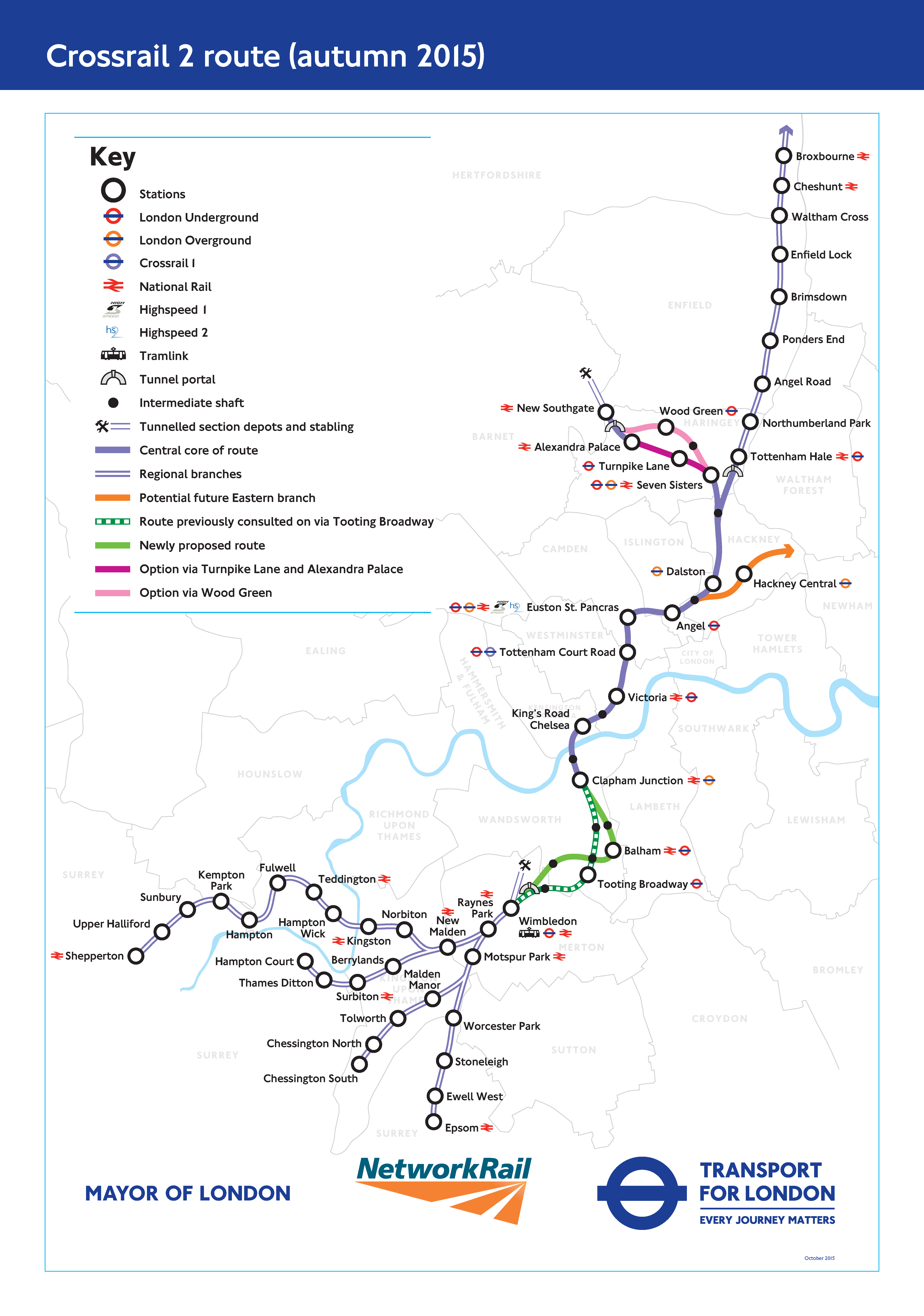 A map of Crossrail 2 as proposed in 2015. Photo: Crossrail 2.