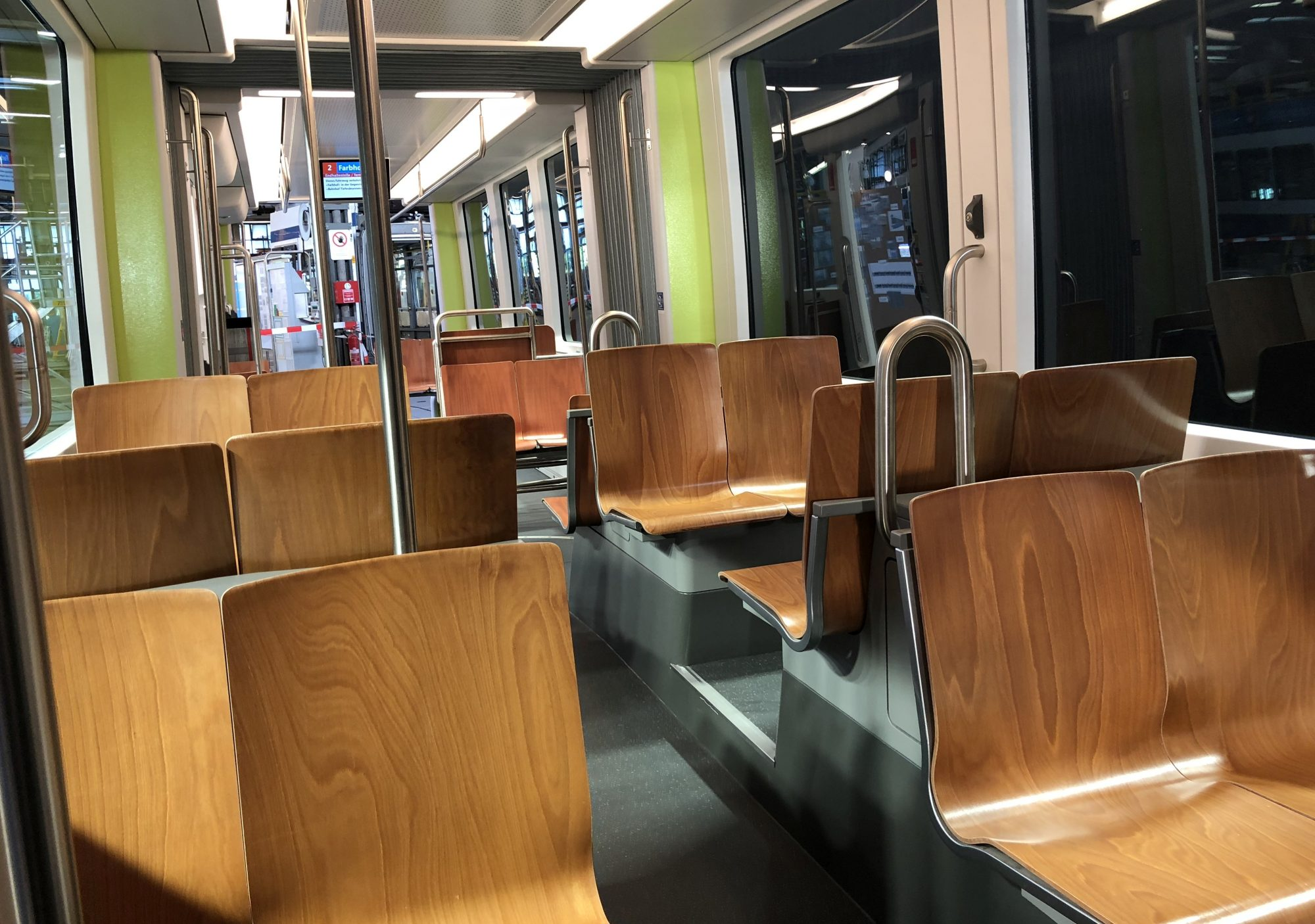 "The ""elegant and hygienic"" wooden seats. Photo: Bombardier."