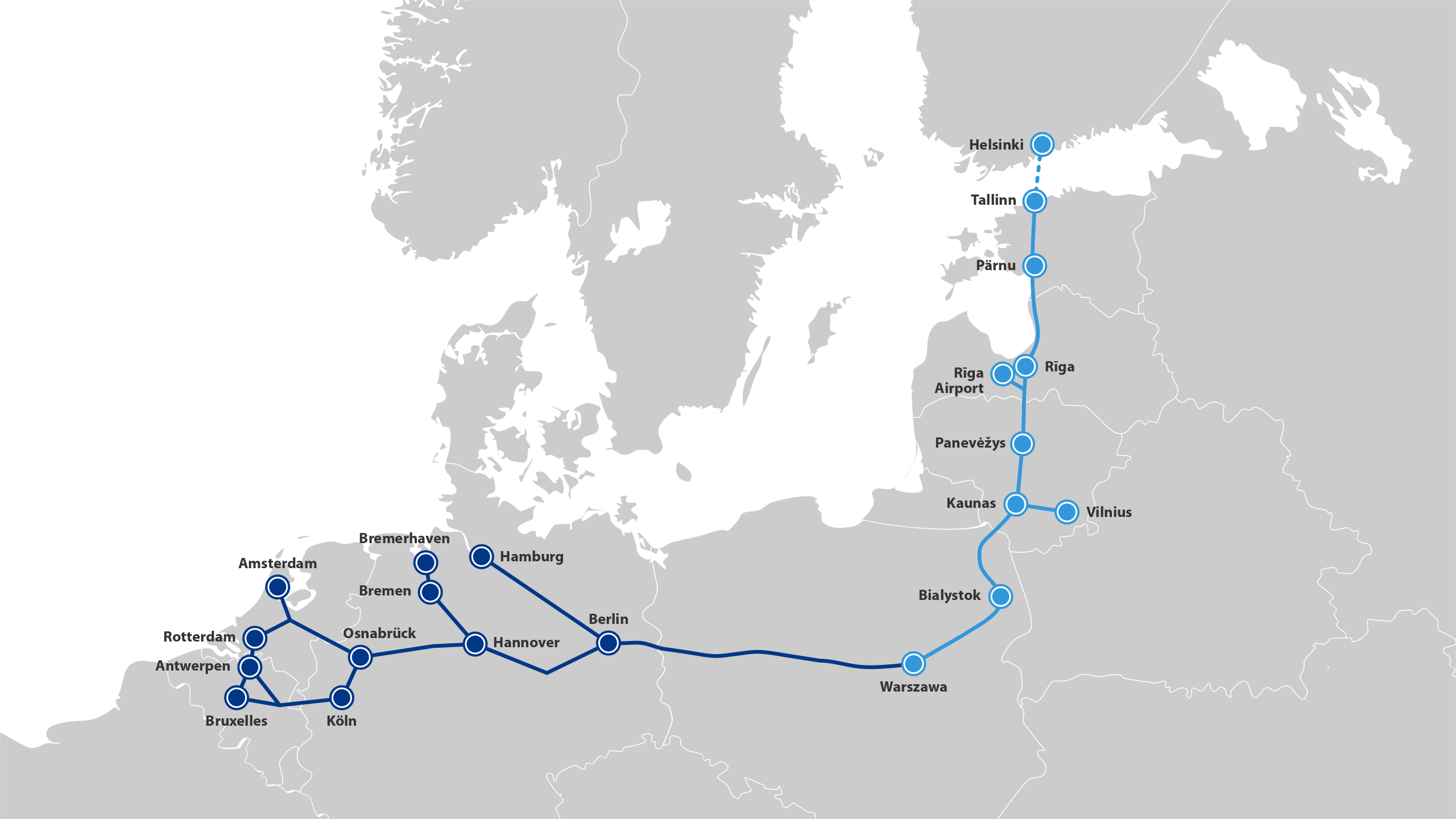 A map of Rail Baltica, which will run from Finland through Estonia, Latvia and Lithuania and connect with the European network in Poland and onwards towards Germany. Photo: Rall Baltica.