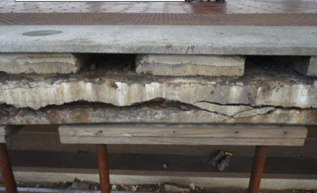 An example of the station platform damage. Photo: Metro.