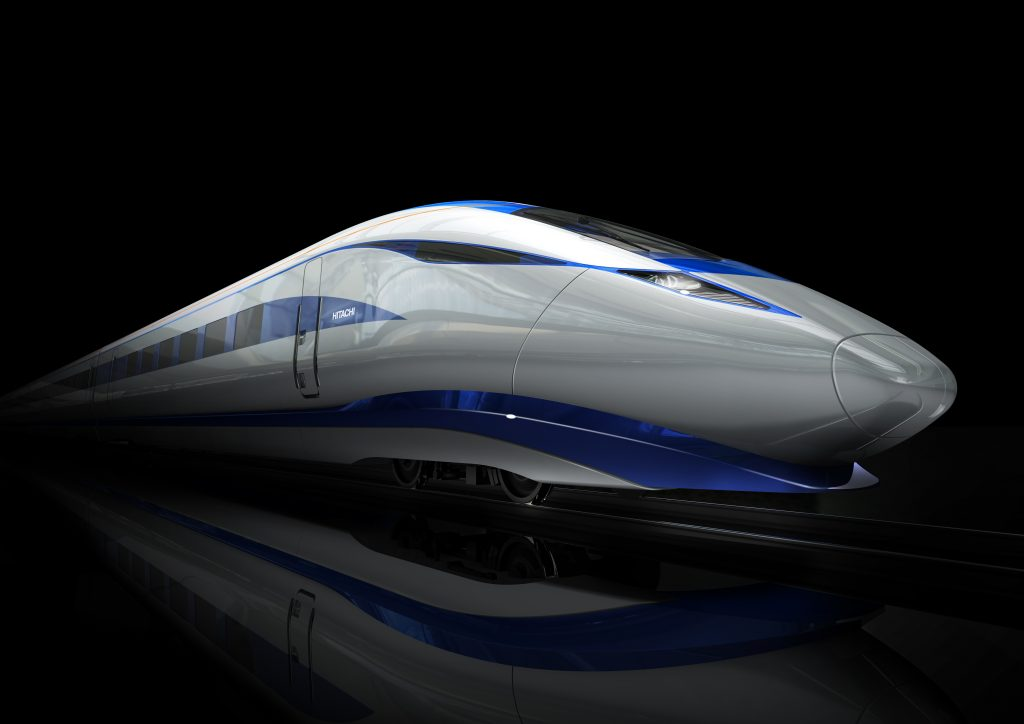 "Early designs released by Hitachi Rail Europe of its AT400 very high-speed train, which has been labelled ""the British bullet train"". Photo: Hitachi Rail Europe."