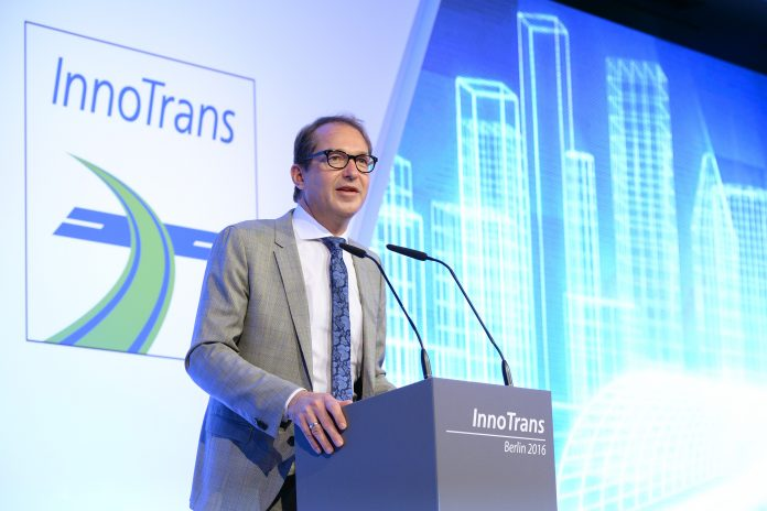 Former German transport minister Alexander Dobrindt opens InnoTrans 2016. Photo: InnoTrans.