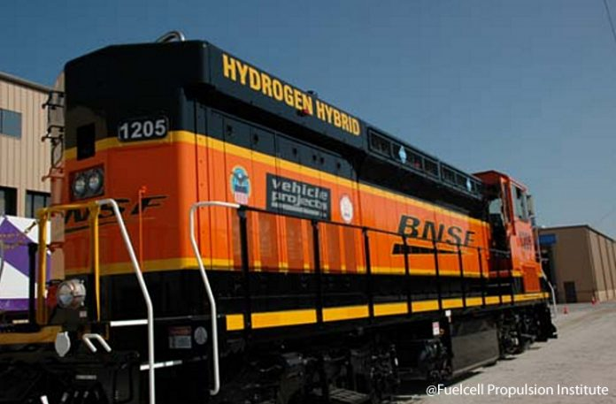 The first hydrogen powered locomotive, developed in part by BNSF, ran in 2010. Photo: Fuelcell Propulsion Institute.