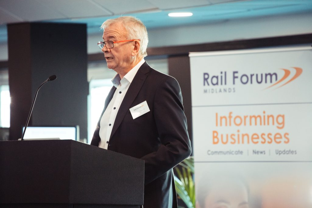 Sir Terry Morgan, a key note speaker at the Rail Forum Midlands' annual conference. Photo: Rail Forum Midlands.