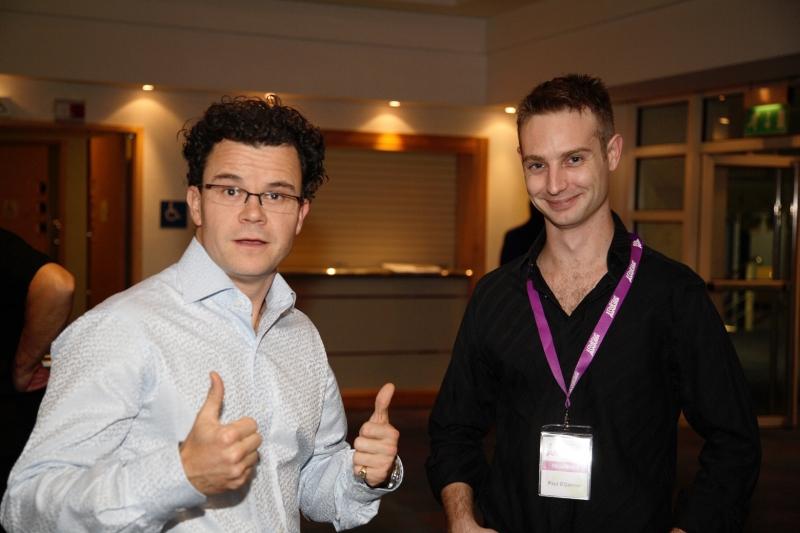 Dominic Holland alongside event organiser Paul O'Connor.