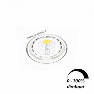 LED spot WIT kantelbaar GU10 6Watt vierkant dimbaar