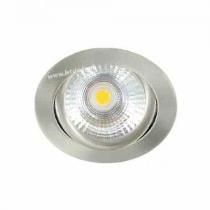 LED spot kantelbaar 5Watt rond NIKKEL dimbaar