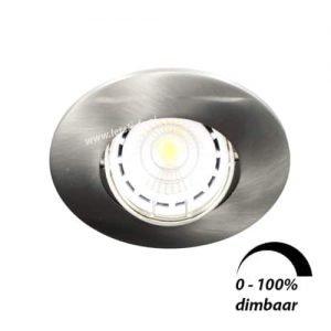 LED spot kantelbaar GU10 6Watt rond NIKKEL dimbaar