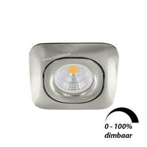 LED spot GU10 6Watt COB vierkant NIKKEL dimbaar
