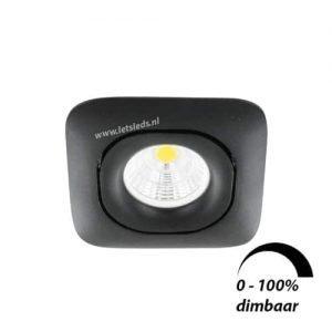 LED spot GU10 6Watt COB vierkant ZWART dimbaar