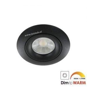 LED spot GU10 7Watt COB rond ZWART dimbaar