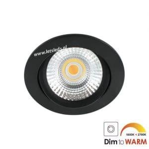 LED spot kantelbaar 7Watt rond ZWART dimbaar