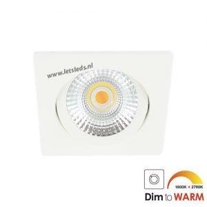 LED spot kantelbaar 7Watt vierkant WIT dimbaar
