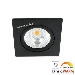 LED spot kantelbaar 7Watt vierkant ZWART dimbaar