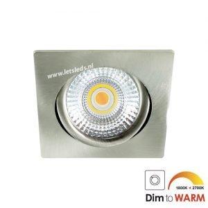 LED spot kantelbaar 7Watt vierkant NIKKEL dimbaar