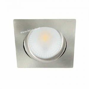 LED spot kantelbaar 5Watt vierkant NIKKEL dimbaar
