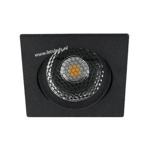 LED spot kantelbaar 5Watt vierkant ZWART IP65 dimbaar