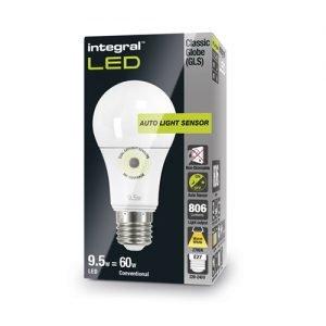 Integral LED GLS E27 8,5Watt dag/nacht sensor