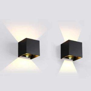 Wandlamp LED 7Watt ZWART 220Volt IP65 PIR verschil