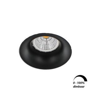 LED trimless spot GU10 COB 6Watt rond ZWART dimbaar
