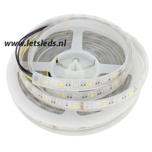 LED strip RGB, warm wit, koel wit IP68 dimbaar 5Mtr