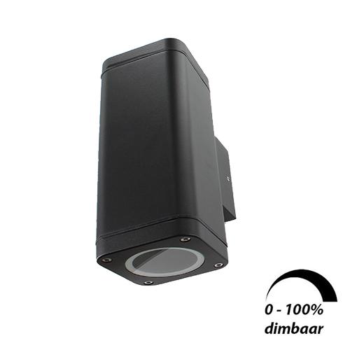 Wandlamp LED armatuur GU10 fitting IP65 waterdicht vierkant 2x 6Watt