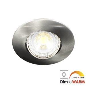 LED spot kantelbaar GU10 7Watt rond NIKKEL dimbaar