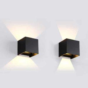 Wandlamp LED 3Watt ZWART 220Volt IP65 verschil