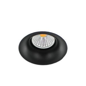 LED trimless spot GU10 COB 3Watt rond ZWART dimbaar