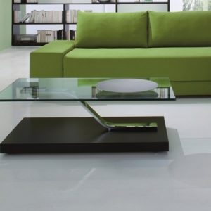 mobili domani  chicago glass coffee table