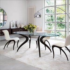 Porada Retro Glass Dining Table, by M. Marconato & T. Zappa