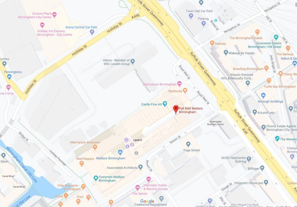 Pall Mall Barbers Birmingham Map
