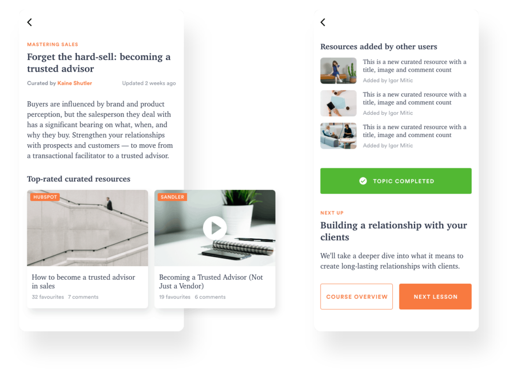 elearning platform for curated content