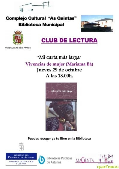 "Club de lectura en El Franco: ""Mi carta más larga"""
