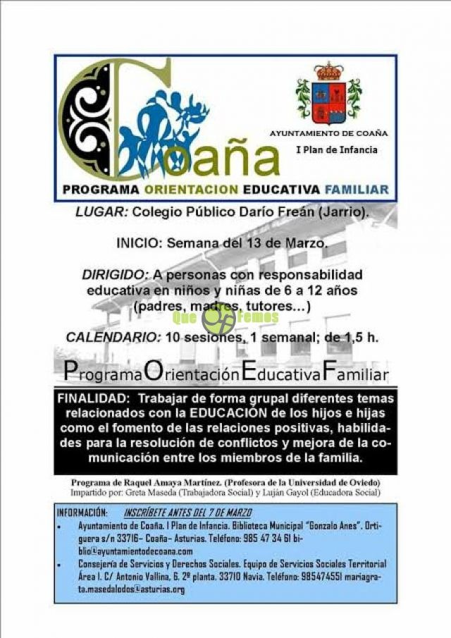 Programa de Orientación Educativa Familiar en Coaña