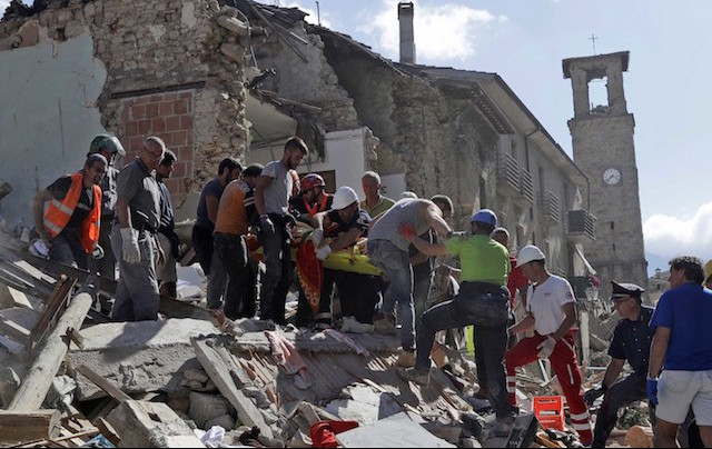Terremoto Amatrice Amatrice, 24 agosto 2016 (AP Photo/Alessandra Tarantino)