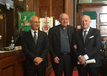 Don Agnesi con il prefetto Tronca e carlo Massironi