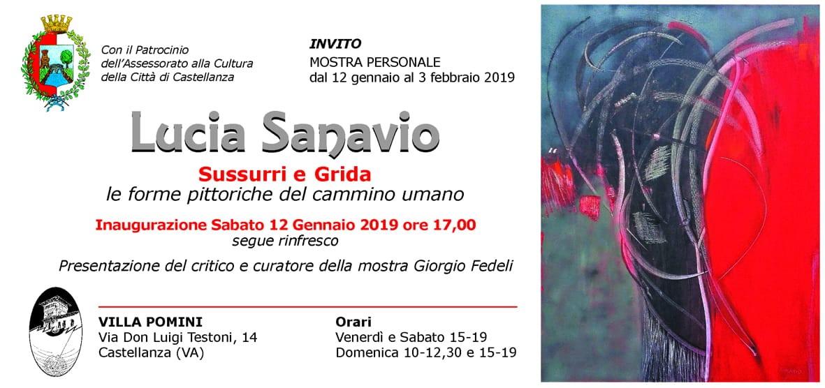 Invito mostra Lucia Sanavio Villa Pomini 12 gennaio