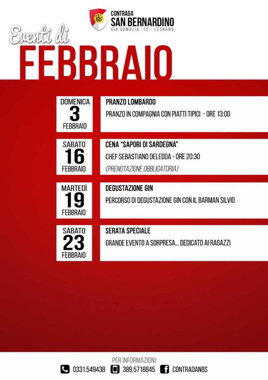 NBS- Locandina programma mese di Febbraio 2019
