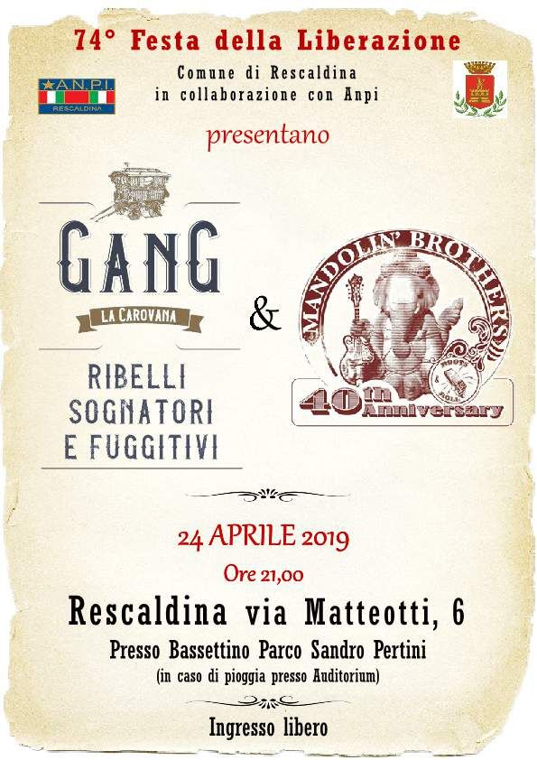 Rescaldina locandina gang ribelli 24 aprile