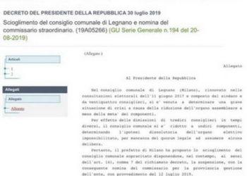 Stralcio scioglimento Consiglio comunale di Legnano