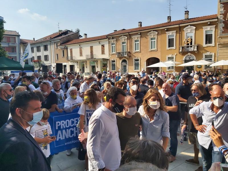 Amministrative Legnano 2020: Matteo Salvini in Piazza San Magno a sostegno della candidata del centrodestra Carolina Toia