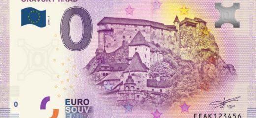 Oravský hrad na 0€ suvenírovej bankovky vypredaný