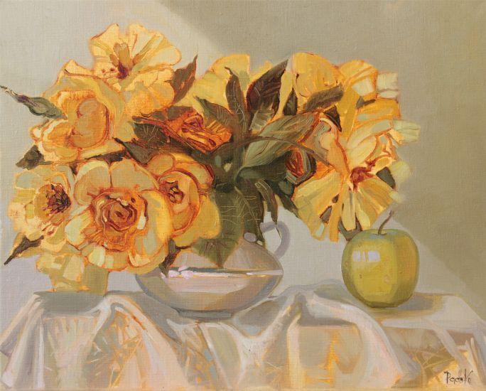Квіти і яблуко