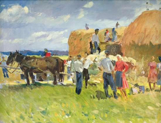 Собирание сена. 1957г.