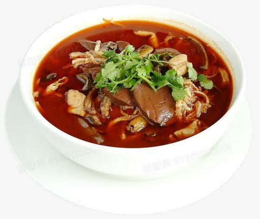 Marmite de tripes de porc et sang de porc au pimente 精品毛血旺