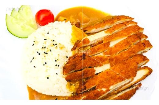 A7 Poulet croustillant et riz au curry