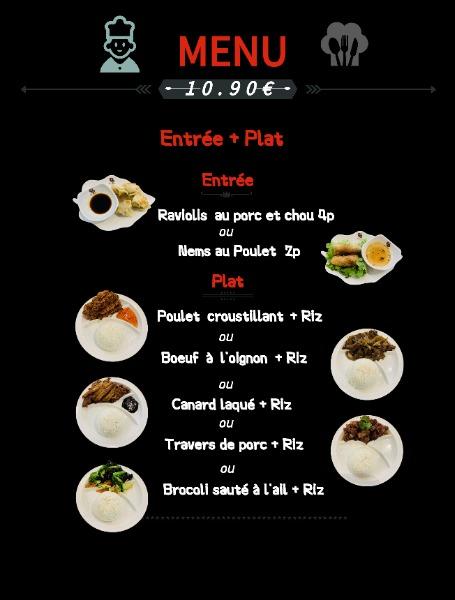 menu entrée+plat